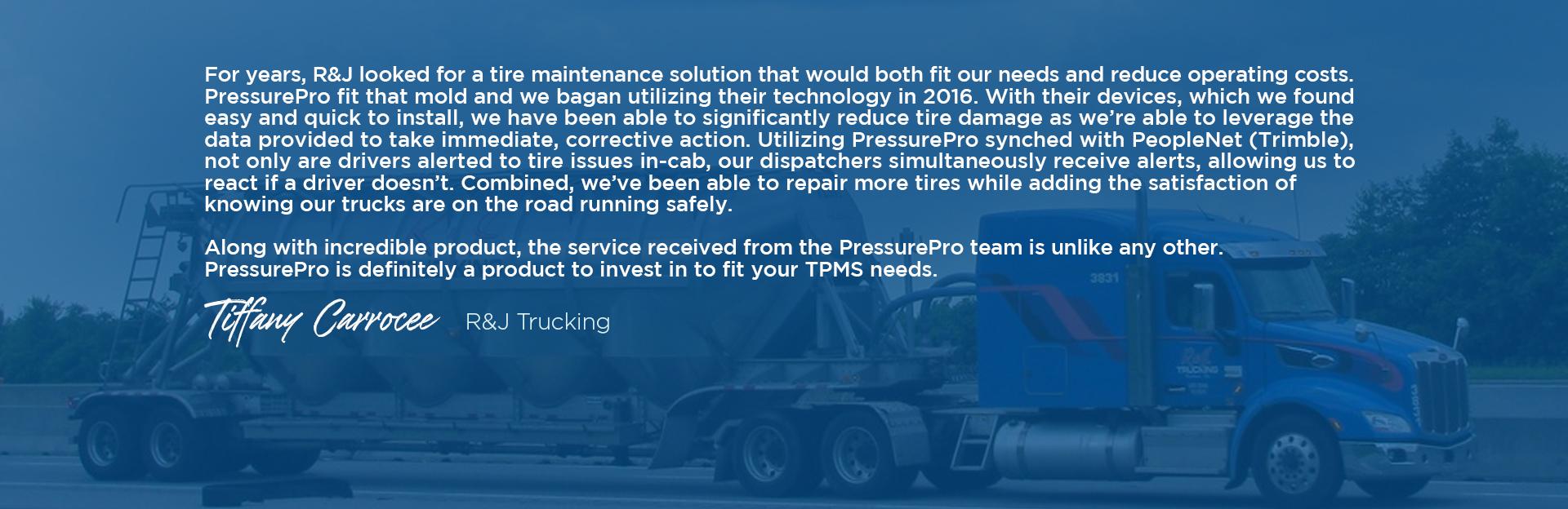 R&J Trucking testimonial
